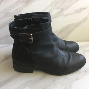 COLE HAAN GRAND OS Black Zip Up Moto Boots